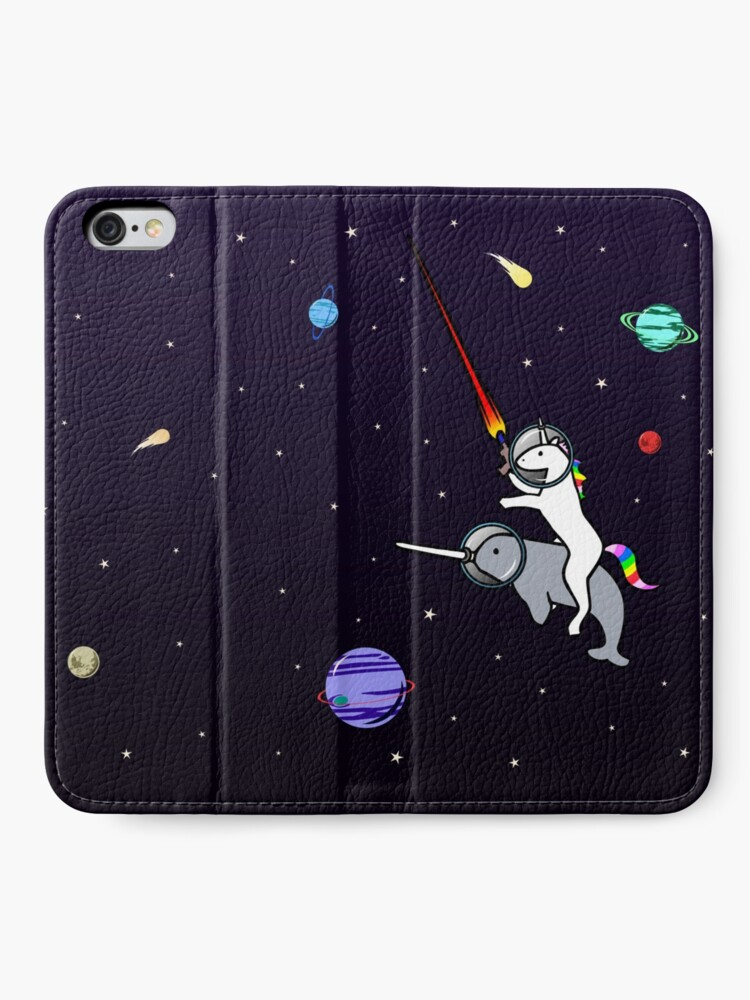 Alternate view of Unicorn Riding Narwhal In Space iPhone Wallet