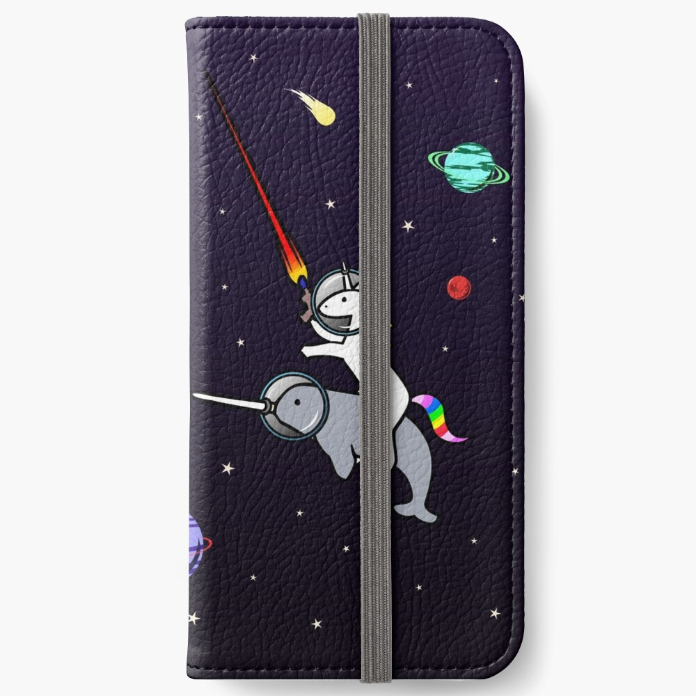 Unicorn Riding Narwhal In Space iPhone Wallet