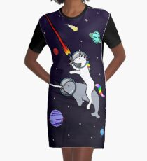 Unicorn Riding Narwhal In Space Graphic T-Shirt Dress