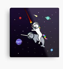 Unicorn Riding Narwhal In Space Metal Print