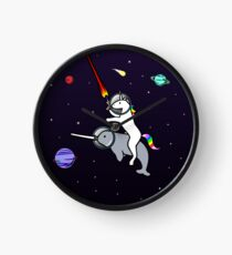 Unicorn Riding Narwhal In Space Clock