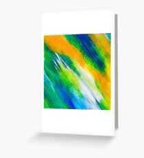 green, blue and orange painted texture background Greeting Card