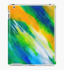 green, blue and orange painted texture background iPad Case/Skin