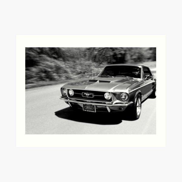 1967 Ford Mustang B/W  Art Print
