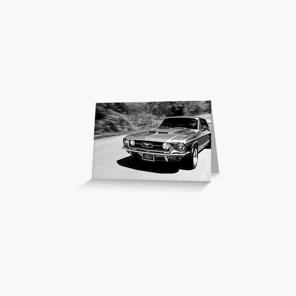 1967 Ford Mustang B/W  Greeting Card