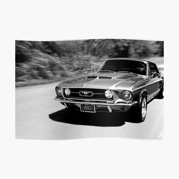 1967 Ford Mustang N / B Poster