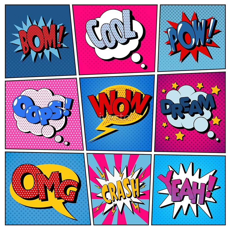 Comic bubbles set expressions bom cool pow oops wow dream