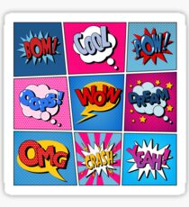 Comic Bubbles Set. Expressions Bom, Cool, Pow, Oops, Wow, Dream, Omg, Crash, Yeah. Halftone Background. Pop Art Sticker
