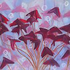 Oxalis / Purple Shamrock, floral art, blue, pink & burgundy by clipsocallipso
