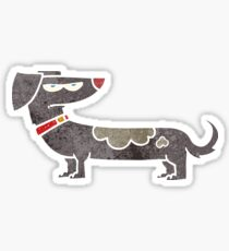 retro cartoon annoyed dog Sticker