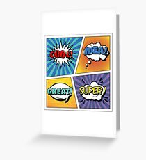 Pop Art Banner. Comics Style. Expressions Set. Bubbles Set. Cool, Idea, Great, Super. Halftone Background Greeting Card