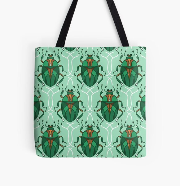 Green Beetle All Over Print Tote Bag