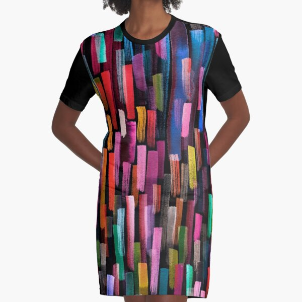 Multicolored watercolor stripes pattern Graphic T-Shirt Dress