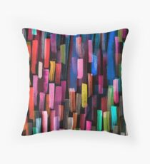 Multicolored watercolor stripes pattern Throw Pillow