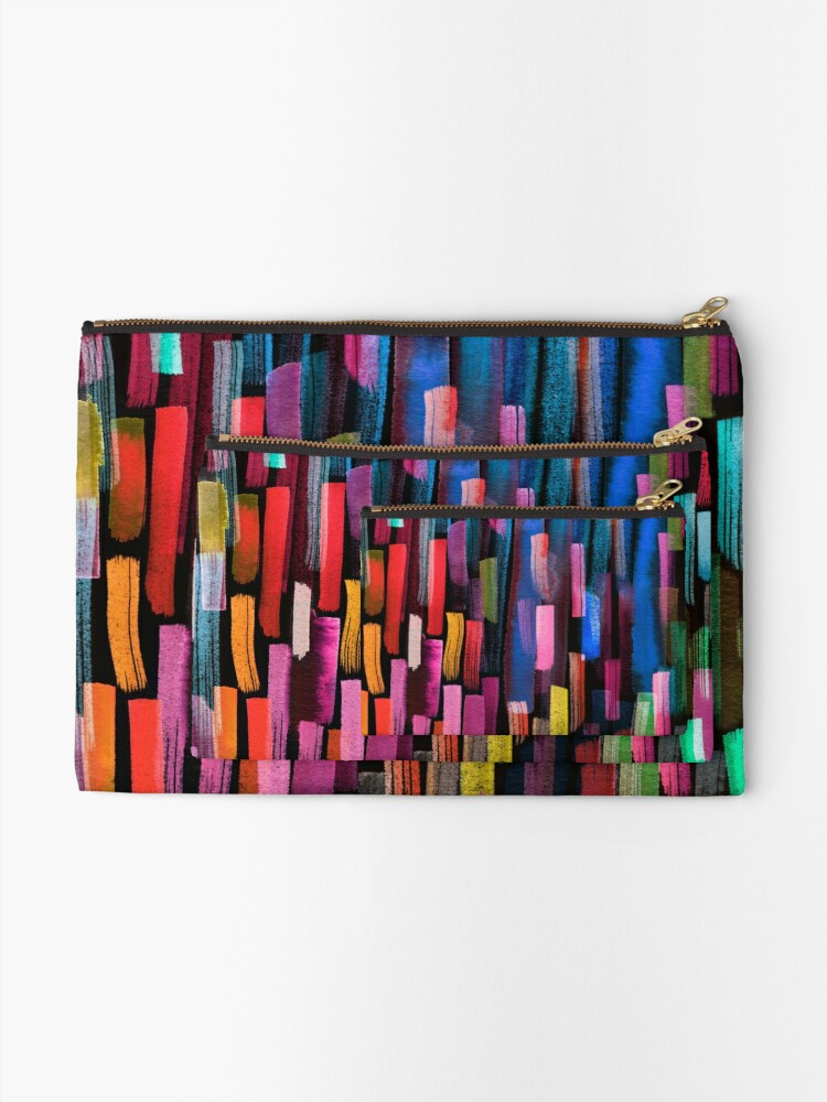 Alternate view of Multicolored watercolor stripes pattern Zipper Pouch