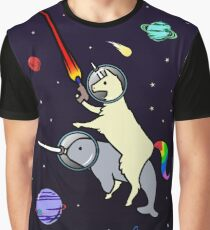 Llamacorn Riding Narwhal In Space Graphic T-Shirt