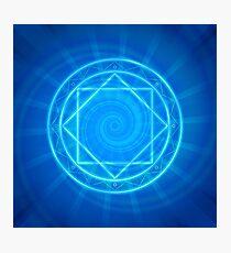 Strange magic circle, blue glowing mandala Photographic Print