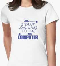 I enjoy long walks to the COMPUTER Womens Fitted T-Shirt