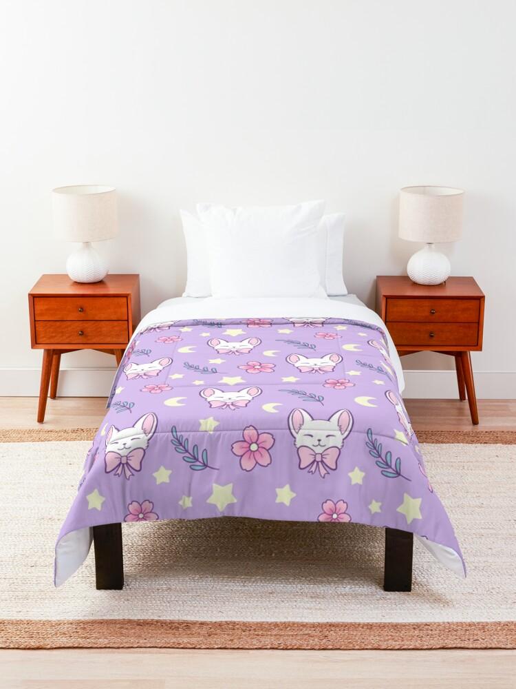 Alternate view of Sakura Cat // Purple | Nikury Comforter