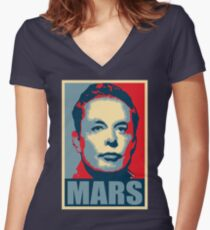 Elon Musk Mars Women's Fitted V-Neck T-Shirt