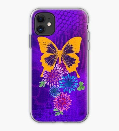 Psychedelic butterfly and flowers iPhone Case