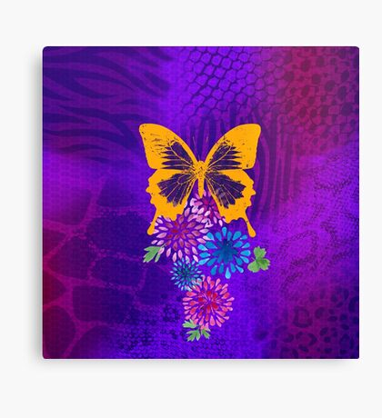 Psychedelic butterfly and flowers Canvas Print