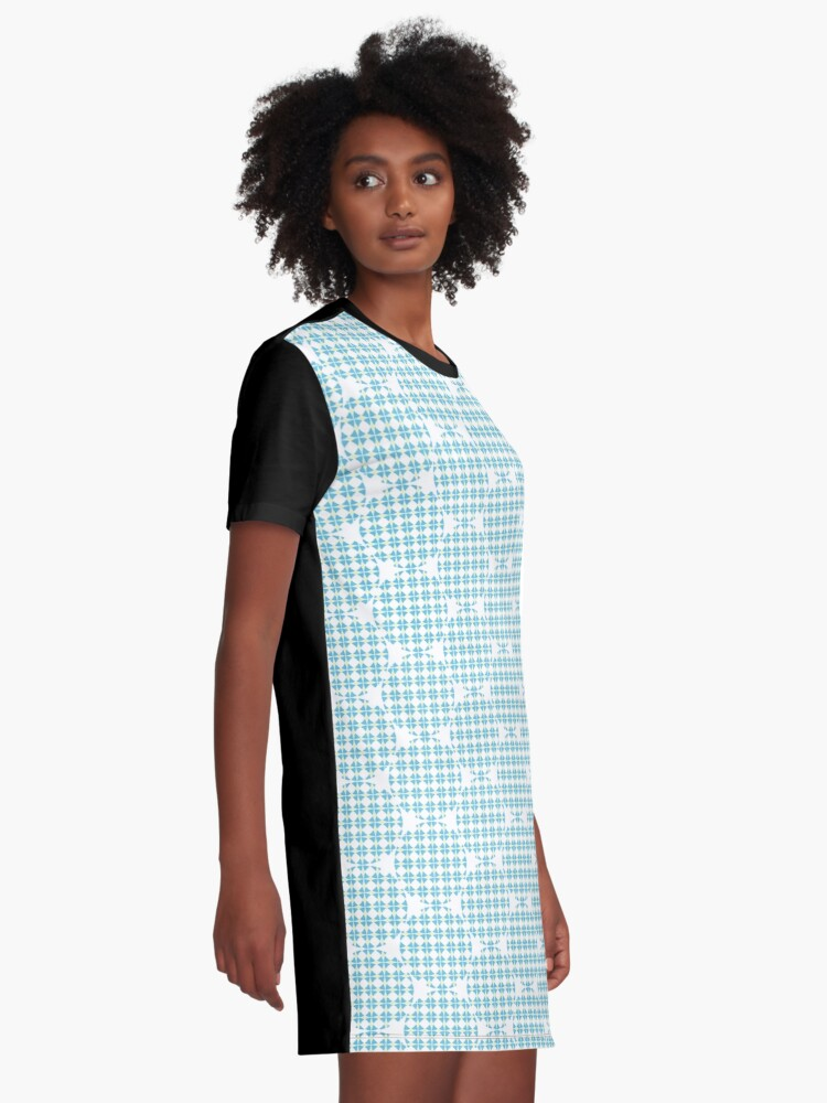 Alternate view of Circles pattern Blue-Yellow Graphic T-Shirt Dress
