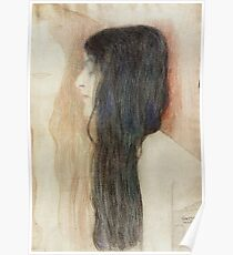 Gustav Klimt - Girl With Long Hair With A Sketch For Nude Veritas 1899 Poster