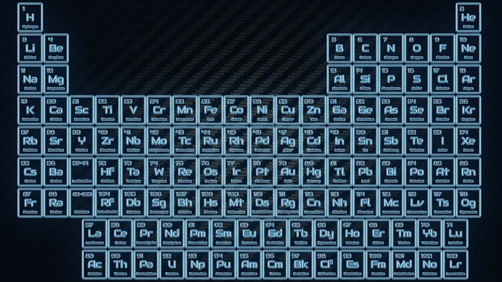 Blue Glow Tube Periodic Table by sciencenotes