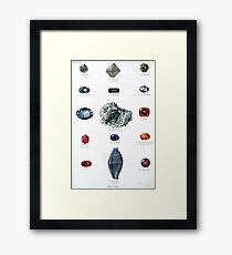 Gemstones antique illustration Framed Print