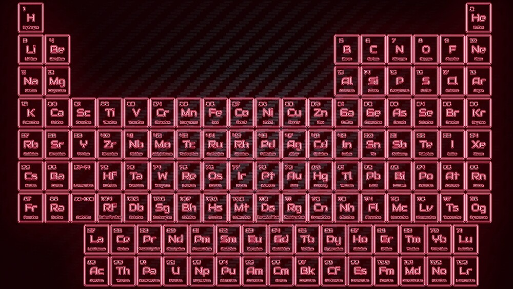 Neon Red Glow Tube Periodic Table by sciencenotes