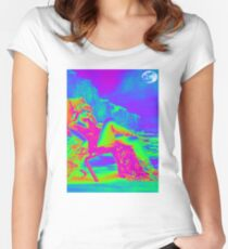 Psychedelic Seaside Holiday Women's Fitted Scoop T-Shirt
