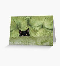 Green-Eyed Girl On Papason Chair Greeting Card