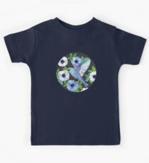 Blue Bird & Anemone Art Print Kids Tee