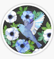 Blue Bird & Anemone Art Print Sticker