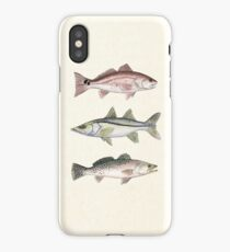 """Inshore Slam""  by Amber Marine ~ watercolor redfish, snook, and trout art, © 2013 iPhone Case/Skin"