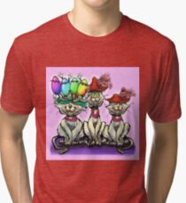 Cats in Easter Hats Tri-blend T-Shirt