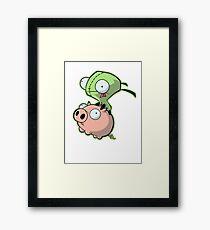 Gir riding his Pig Framed Print