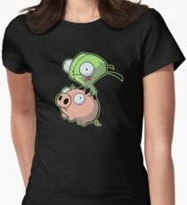 Gir riding his Pig Women's Fitted T-Shirt