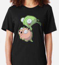 Gir riding his Pig Slim Fit T-Shirt
