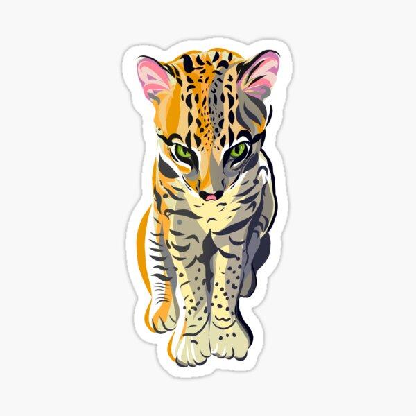 Ocelot kitten sees into your soul Sticker