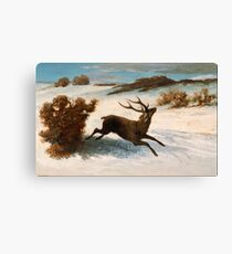 Gustave Courbet - Deer Running In The Snow C.1856 - C.1857 Canvas Print