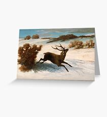 Gustave Courbet - Deer Running In The Snow C.1856 - C.1857 Greeting Card