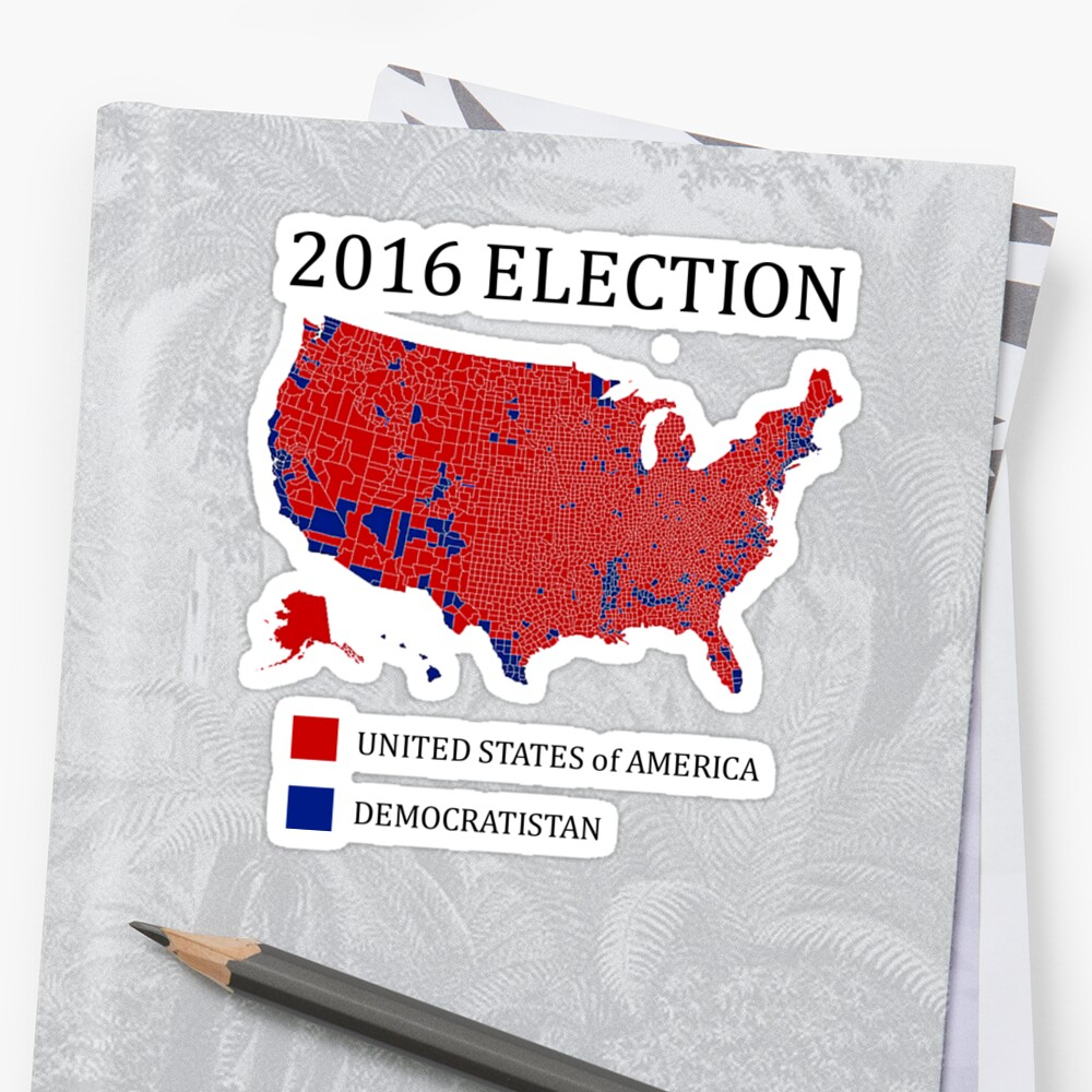 2016 Election Results Map By County Stickers by J Wilson Redbubble