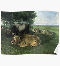 Gustave Courbet - La Siesta Pendant La Saison Des Foins (And Detail Of Animals Sleeping Under A Tree) Poster