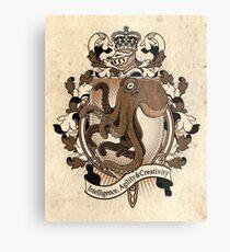 Octopus Coat Of Arms Heraldry Metal Print