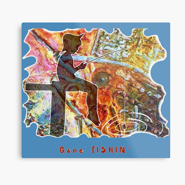 STEAMPUNK GONE FISHIN' CHILD FISHING OFF PIER Metal Print