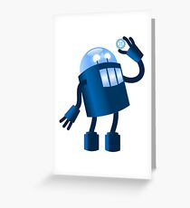 Robot holding gear Greeting Card