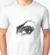 female eye halftone effect  isolated on white background Unisex T-Shirt