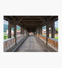 On the Wooden Covered Bridge Photographic Print